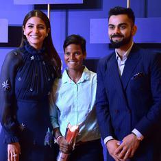 Virat Kohli receives Polly Umrigar trophy at BCCI awards function