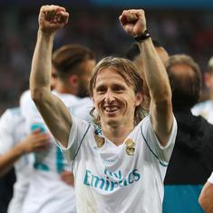 Real Madrid and Croatia midfielder Luka Modric wins Uefa player of year award