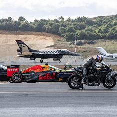 Watch: A fighter jet and a private airliner battle it out in a race with cars and a motorcycle
