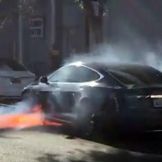 British film director's Tesla car bursts into flames in Los Angeles