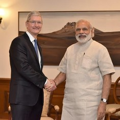 Apple CEO Tim Cook meets Narendra Modi, launches update of his mobile app