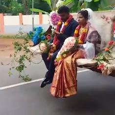 Watch: Newlyweds from Karnataka depart from their wedding in style on an earth-digger