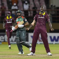 West Indies register thrilling three-run win over Bangladesh to level series