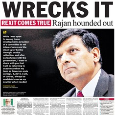 'Raghuram Rajan-Mukt RBI': How the front pages reported the RBI governor's shock exit