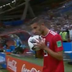 Iran player's bizarre throw-in attempt in stoppage time against Spain leaves Twitter in splits