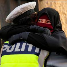 Watch: Policewoman hugs a Muslim woman protesting against the burqa ban instead of arresting her