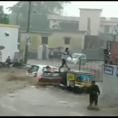 Watch: Passengers escape in the nick of time as a car is swept away by a flood in Uttarakhand