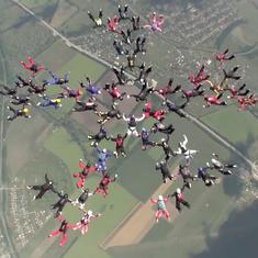 Watch: Fifty-seven women skydivers came together in Ukraine to set a world record