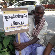 Delhi: Senior citizens protest to demand universal pension scheme