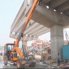उत्तर प्रदेश : वाराणसी में निर्माणाधीन पुल का हिस्सा गिरा