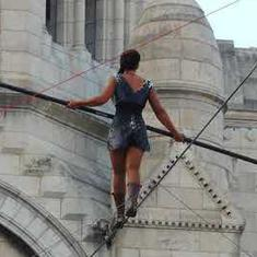 Watch: Woman stuns Parisians by walking a tightrope 35 metres above the ground