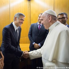 Richard Gere, George Clooney and Salma Hayek awarded medals by Pope Francis