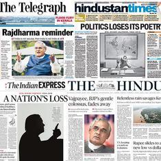 'BJP's gentle colossus fades away': How newspapers covered Atal Bihari Vajpayee's death