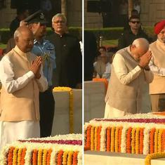 राष्ट्रपति-प्रधानमंत्री समेत अनेक हस्तियों ने राजघाट जाकर महात्मा गांधी को श्रद्धांजलि दी