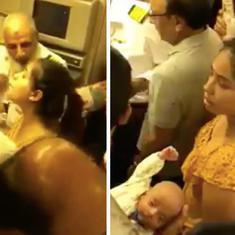 Watch: Distraught mother with 'unconscious' baby denied emergency exit from plane