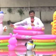 Watch: Lahore reporter sits in inflatable children's pool on flooded road to report on water-logging