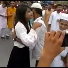 Watch: Young woman who set a lovely new trend by hugging men on Eid is a minor viral sensation