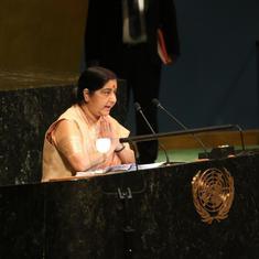 भारत उस देश से बातचीत नहीं कर सकता जो हत्यारों को सम्मान देता है : सुषमा स्वराज