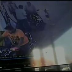 Watch: Motorcycle catches fire at a petrol pump in Tamil Nadu, driver has a narrow escape