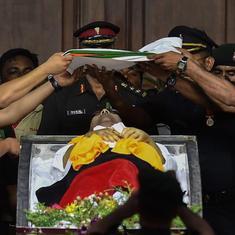 Karunanidhi buried with full state honours next to mentor Annadurai at Marina Beach in Chennai