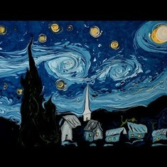 As this artist paints Vincent Van Gogh's 'The Starry Night' on water, you simply cannot look away