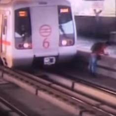 Watch: Why was this man crossing the Delhi Metro tracks? (He barely survived)