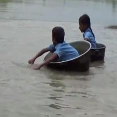 Watch: Children in Assam's Biswanath district have to use pots to cross a river to get to school