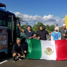 Mexican fans carry friend's life-size cutout, after his wife forbids him to travel to Russia