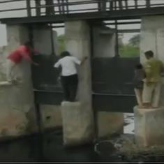 Watch: In this part of Gujarat, children risk their lives every day to cross a collapsed bridge