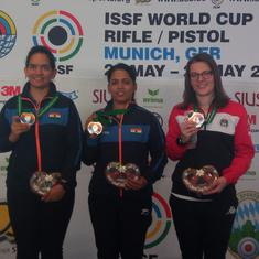 Tejaswini Sawant pips compatriot Anjum Moudgil to win gold at Munich Shooting meet