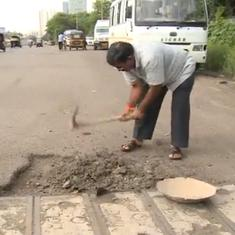 Watch: This Mumbai man has filled almost 600 potholes after losing his son in a road accident