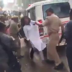Watch: Police beat up female students waving black scarves at Amit Shah's motorcade