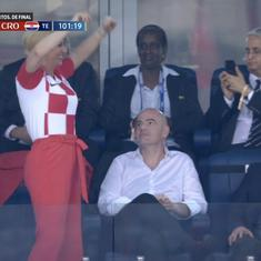 Watch: Croatian president celebrates World Cup win in front of an unamused Russian PM