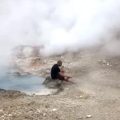 Watch: Adventurous tourist tries to wash his feet in a hot geyser at Yellowstone National Park