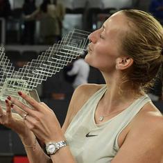 Petra Kvitova gets the better of gutsy Kiki Bertens to lift her third Madrid Open crown