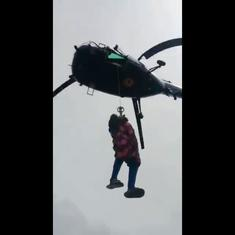 Watch: The Indian Navy airlifts pregnant woman with broken water bag and a child in flooded Kerala