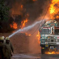 Delhi: Massive fire breaks out at rubber godown in Malviya Nagar area, one firefighter injured