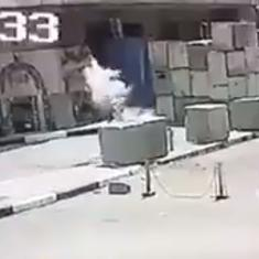 Watch: Explosive in a man's backpack detonates outside US Embassy in Cairo