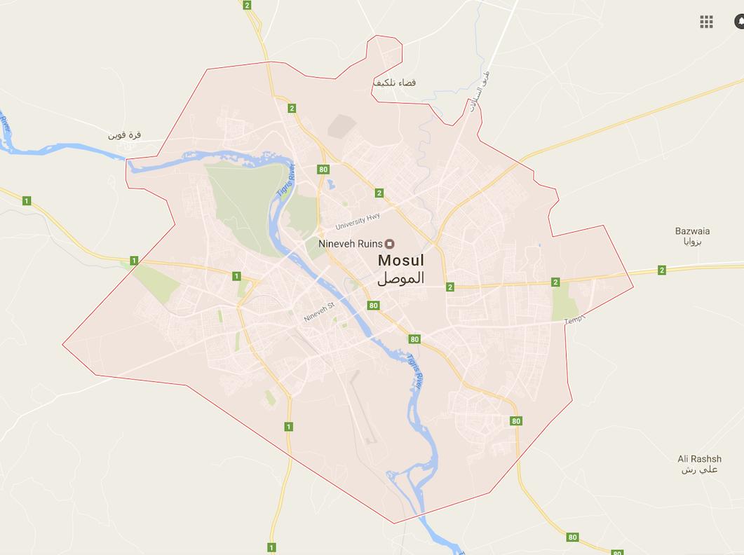 तिगरिस नदी मोसुल शहर के बीच से होकर बहती है. क्रेडिट : गूगल मैप