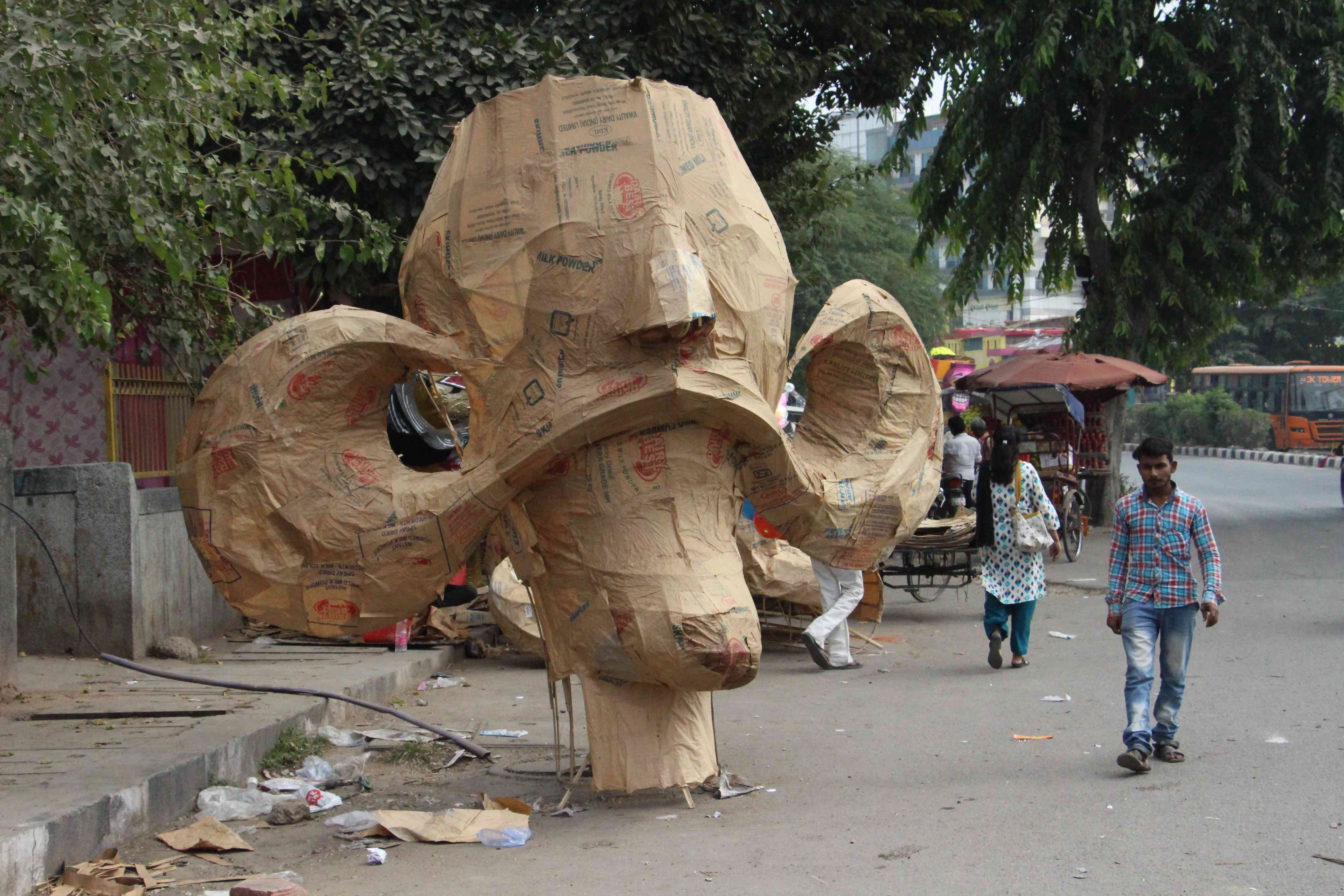 An unfinished head of Ravana lies in West Delhi's Beriwala Bagh area. The cost of the effigies depend on its size. Those as tall as 60 feet can cost upto Rs 40,000 per piece.