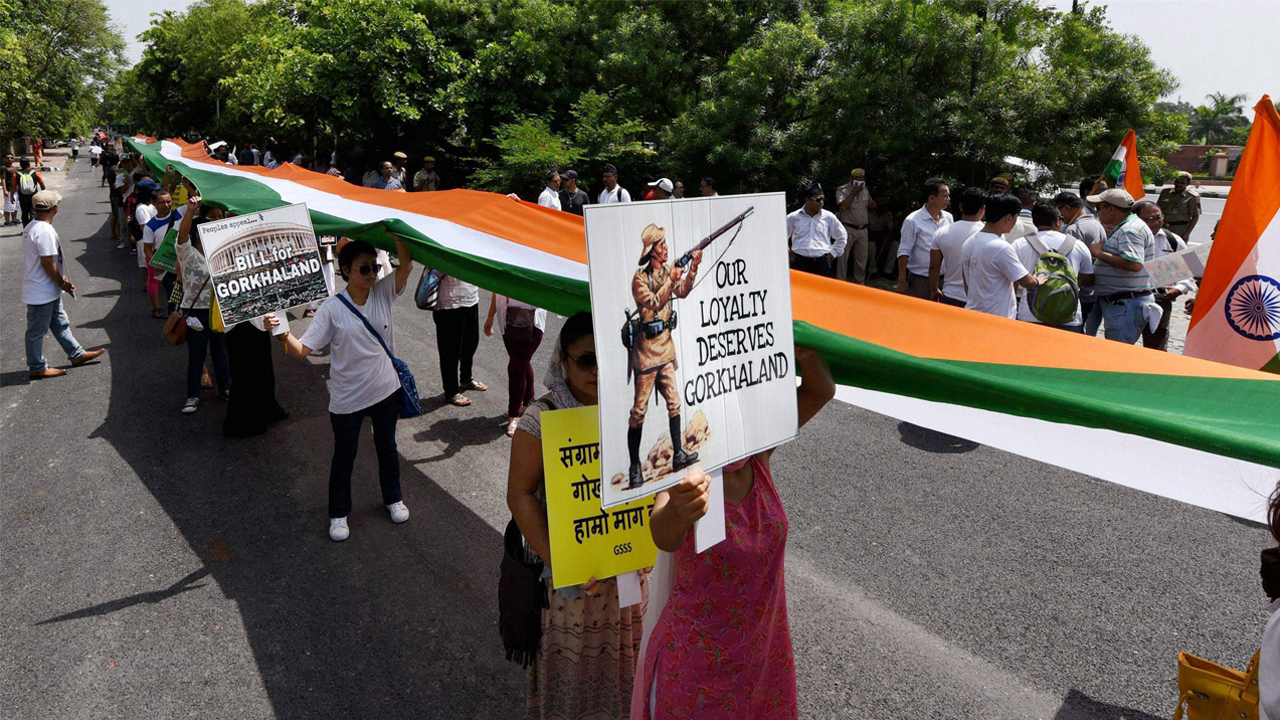 Gorkhaland supporters march with a 110-metre-long tricolour in Delhi on July 9.