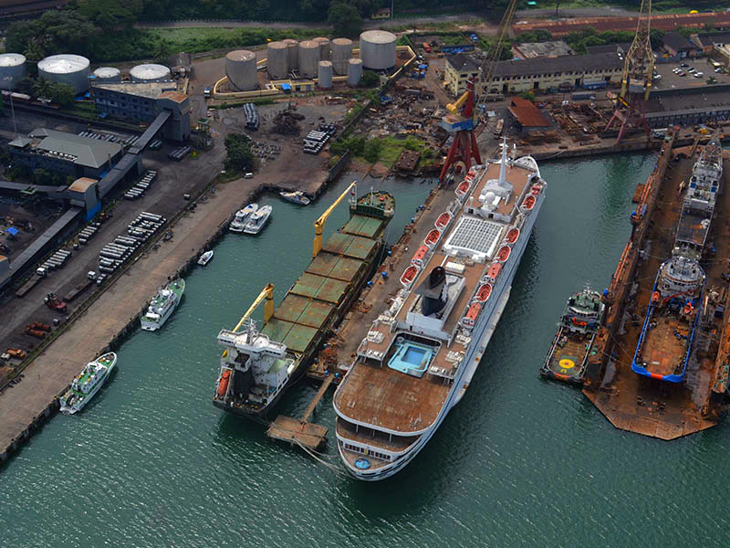 An aerial view of the Mormugao Port Trust. Photo credit: MPT