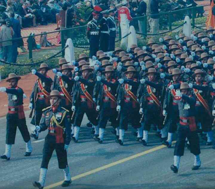 Major Mohommed Ali Shah leads an Army contingent at the Republic Day parade. Photo via Facebook