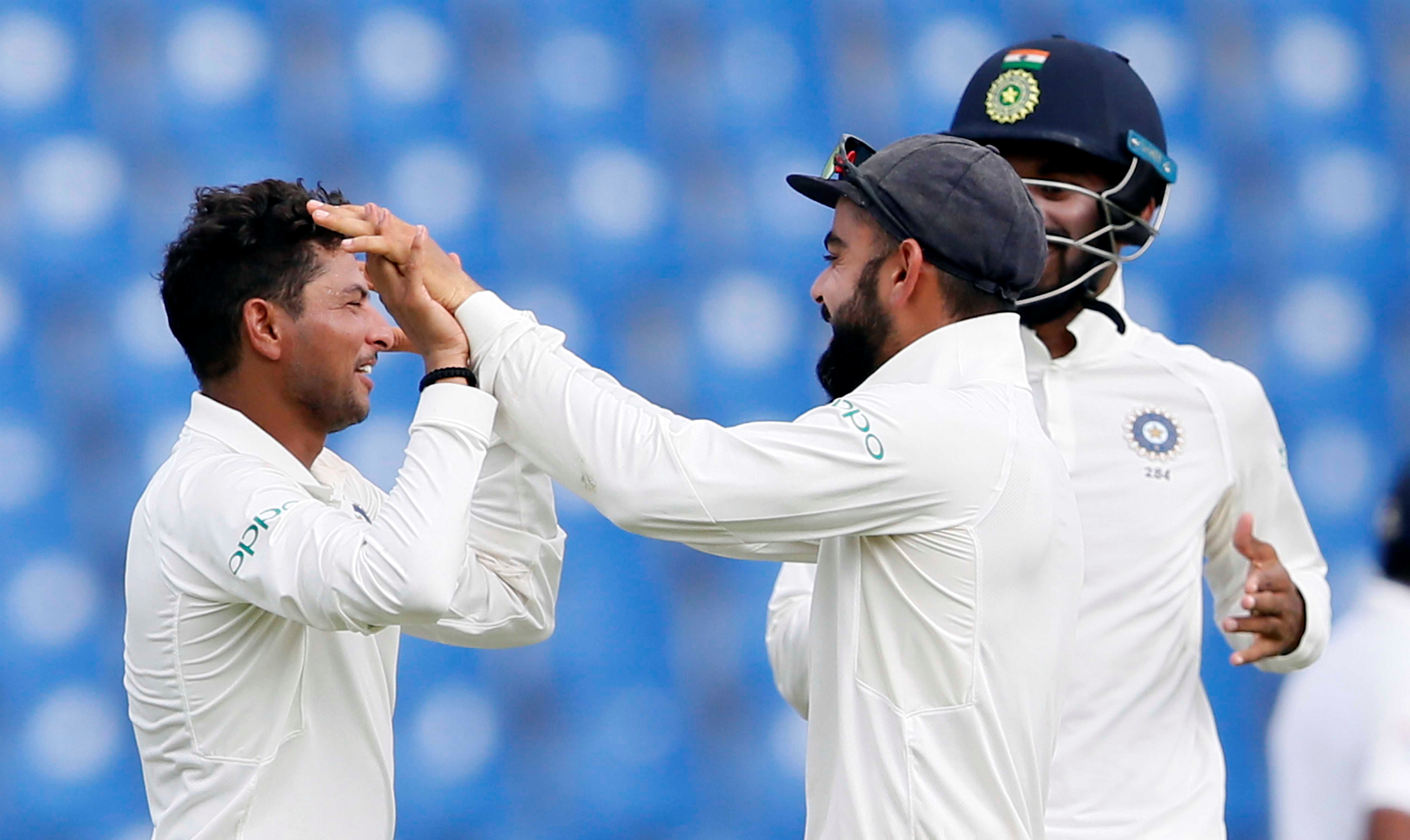 Kuldeep Yadav (left) has picked up three wickets so far. Photo: Reuters