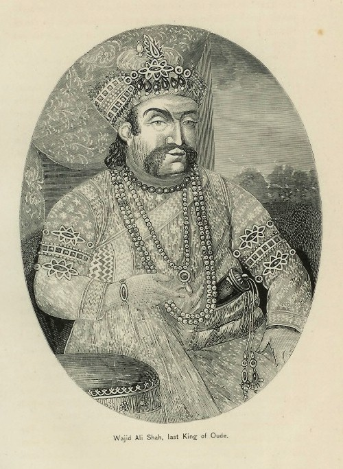 An engraving of Wajid Ali Shah from 1872. Image credit: Wikimedia Commons [Public Domain]