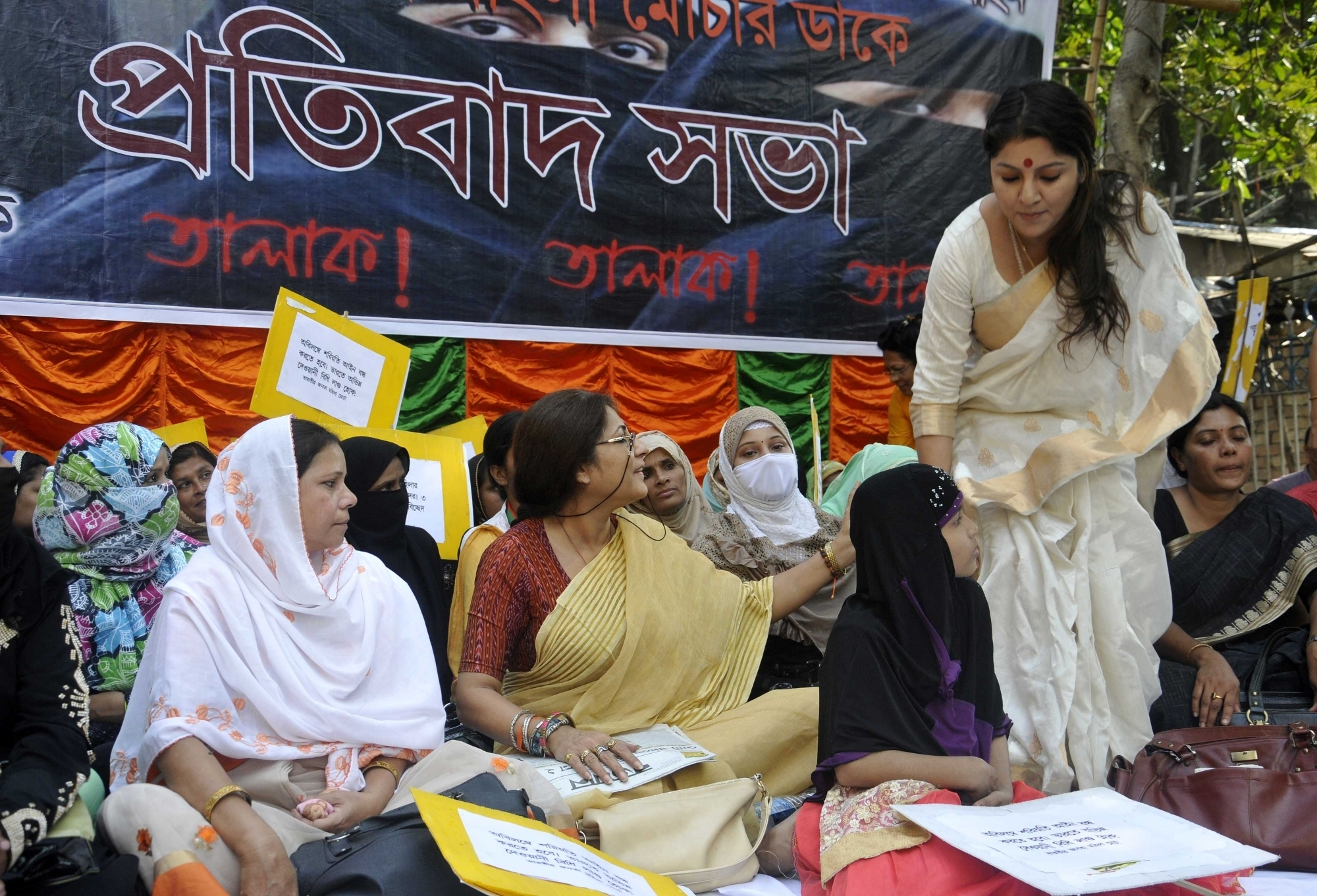 BJP leaders Roopa Ganguly and Locket Chatterjee at a demonstration against triple talaq in Kolkata. Image credit: IANS