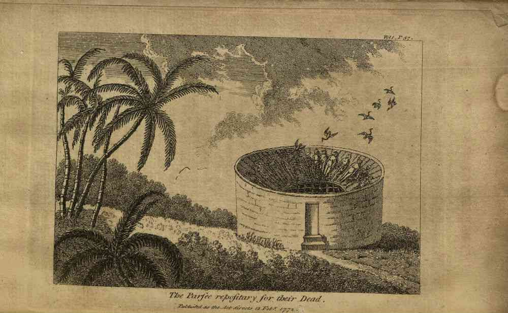 An early depiction of the Parsi Tower of Silence in Bombay from 'A Voyage to the East Indies' (London, 1772) by John Grose.