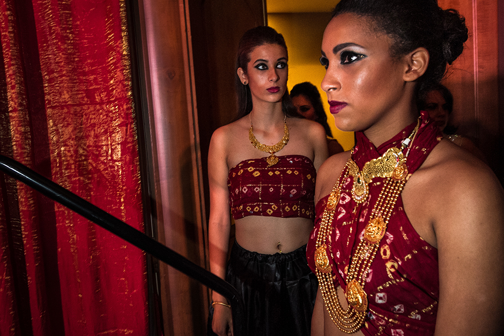 Fremont, California: Jewellery models prepare to take the stage during an awards gala.