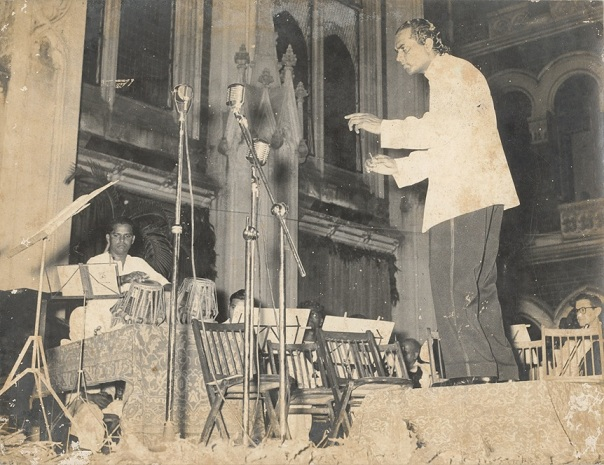 In April 1958, Anthony Gonsalves performed two concerts of his raga-based symphonies in the quadrangle of St Xavier's College in Mumbai.