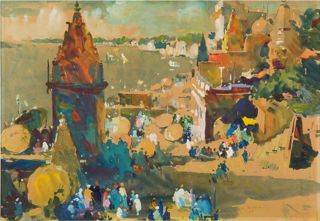 S.H. Raza, Benares, 1944, watercolour on paper. Image courtesy: Piramal Museum of Art